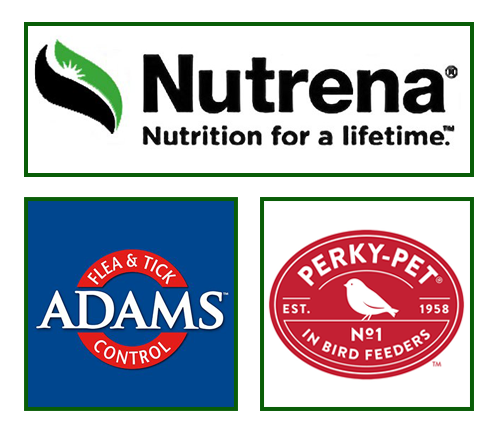 Nutrena, Adams, and Perky-Pet Logos